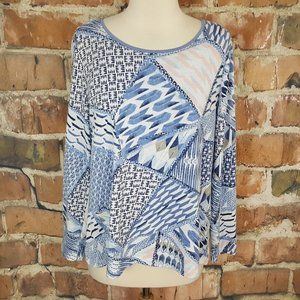 Chico's Blue White Open back LS Top with cami 2 L
